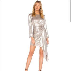 Bardot Silver Metallic Shimmer Draped Mini Dress 4